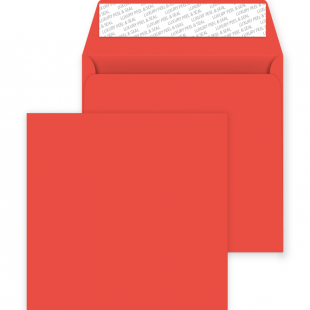 Square Peel and Seal Envelopes - 220mm x 220mm - Pillar Box Red