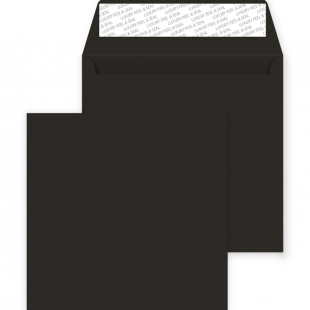 Square Peel and Seal Envelopes - 220mm x 220mm - Jet Black