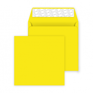 Square Peel and Seal Envelopes - 160mm x 160mm- Banana Yellow