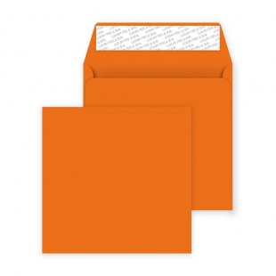 Square Peel and Seal Envelopes - 160mm x 160mm- Pumpkin Orange