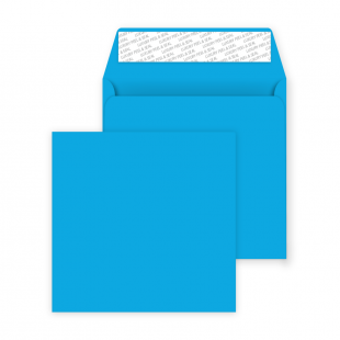 Square Peel and Seal Envelopes - 160mm x 160mm- Caribbean Blue
