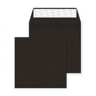 Square Peel and Seal Envelopes - 160mm x 160mm- Jet Black