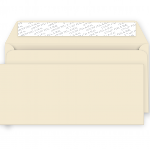 DL Peel and Seal Envelopes - 114mm x 229mm -Clotted Cream