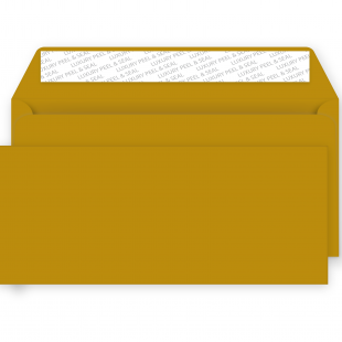 DL Metallic Gold Peel and Seal Envelopes 130gsm (114mm x229mm)