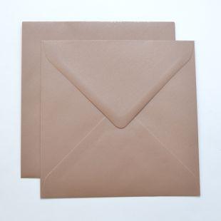 Lustre Print Silver Square Envelopes - Pearlised Bisque