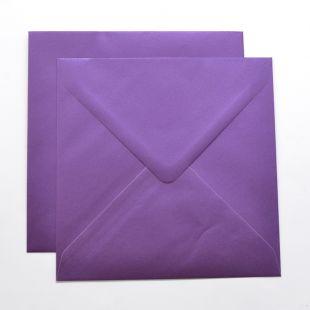 Lustre Print Silver Square Envelopes - Pearlised Boysenberry