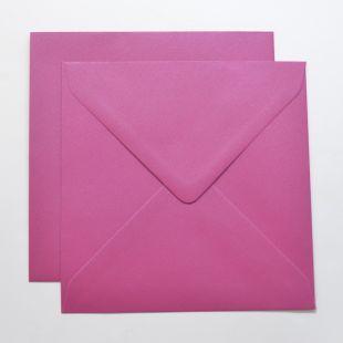 Lustre Print Silver Square Envelopes - Pearlised Brilliant Rose