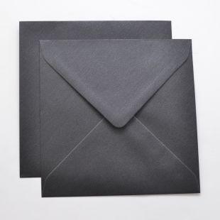 Lustre Print Silver Square Envelopes - Pearlised Charcoal