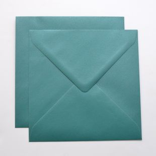 Lustre Print Silver Square Envelopes - Pearlised Forest Green