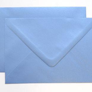 Lustre Print Silver C6 Envelopes - Pearlised Maya Blue