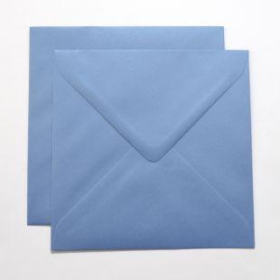 Lustre Print Silver Square Envelopes - Pearlised Maya Blue