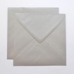 Lustre Print Silver Square Envelopes - Pearlised Mercury