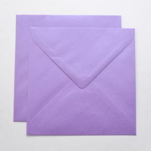 Lustre Print Silver Square Envelopes - Pearlised Periwinkle