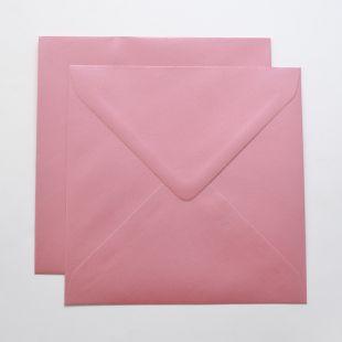 Lustre Print Silver Square Envelopes - Pearlised Persian Pink