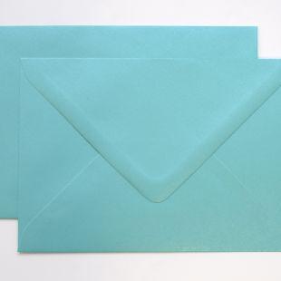 Lustre Print Silver C6 Envelopes - Pearlised Sea Blue