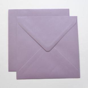 Lustre Print Silver Square Envelopes - Pearlised Tea Rose