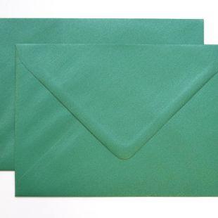 Lustre Print Silver C6 Envelopes - Pearlised Xmas Green