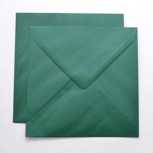 Lustre Print Silver Square Envelopes - Pearlised Xmas Green