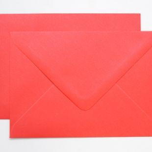 Lustre Print Silver C6 Envelopes - Pearlised Xmas Red