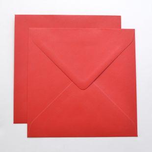 Lustre Print Silver Square Envelopes - Pearlised Xmas Red