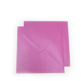 Square Pearlised Fuchsia Pink (Brilliant Rose) Envelopes (155mm x 155mm)