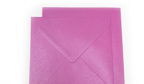 Square Pearlised Fuchsia Pink (Brilliant Rose) Envelopes (155mm x 155mm)