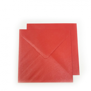 Square Pearlised Xmas Red Envelopes (155mm x 155mm)