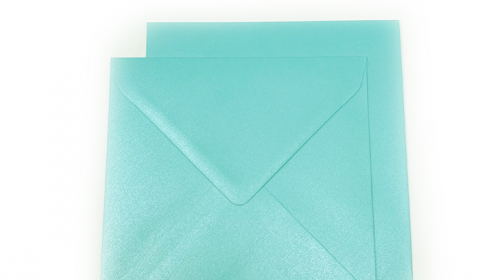 Square Pearlised Sea Blue Envelopes (155mmm x 155mm)