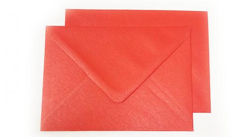 C6 Pearlised Xmas Red Envelopes (114mm x 162mm)