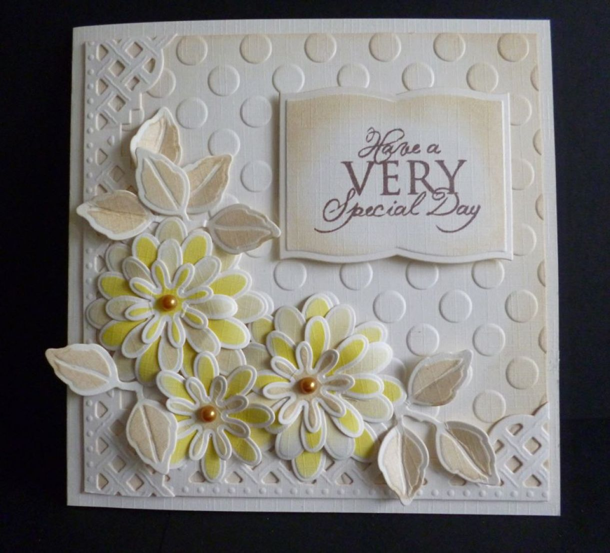 flax embossed ivory card offer and some stunning handmade