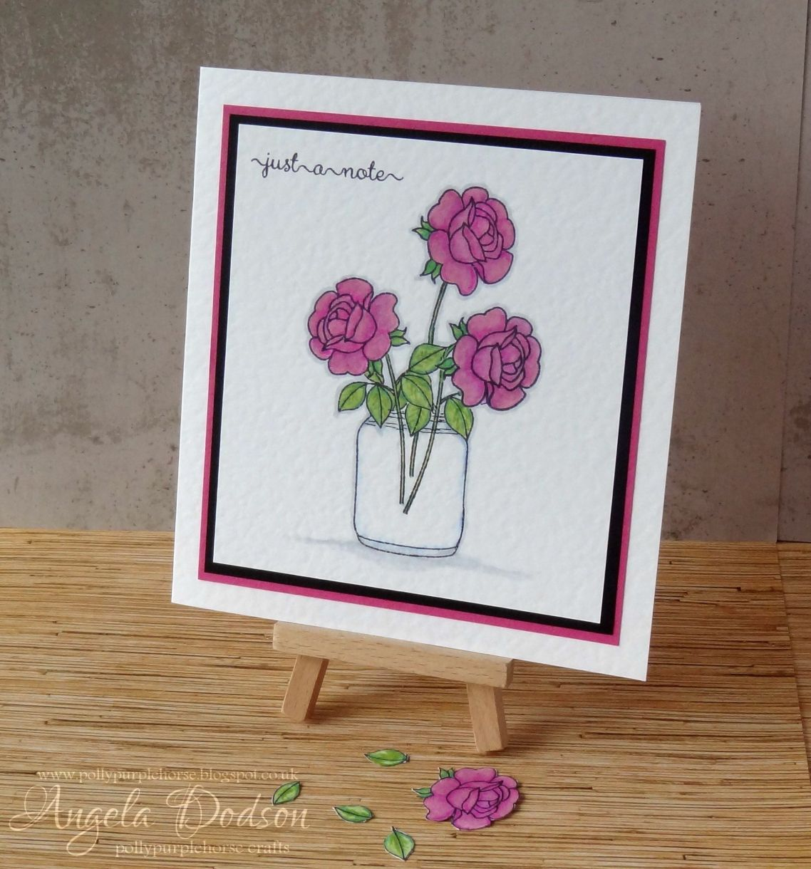 Just A Note Floral Card Stamping Colouring On Hammered Card