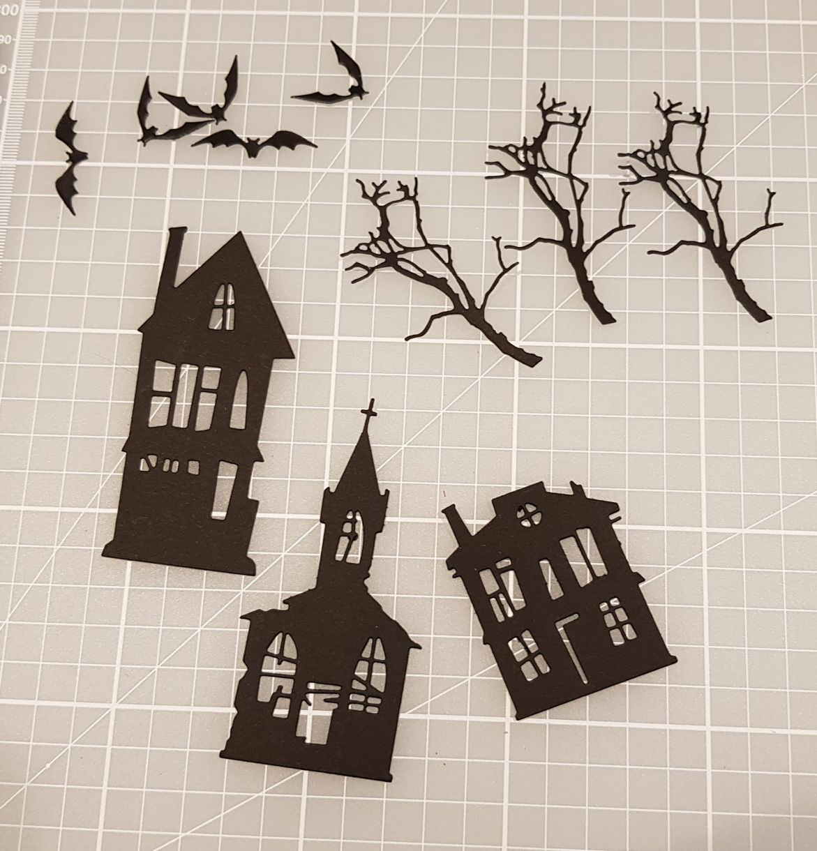 Die Cut Houses, Trees and Bats