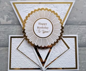 Arrow Fold Card Gold and White