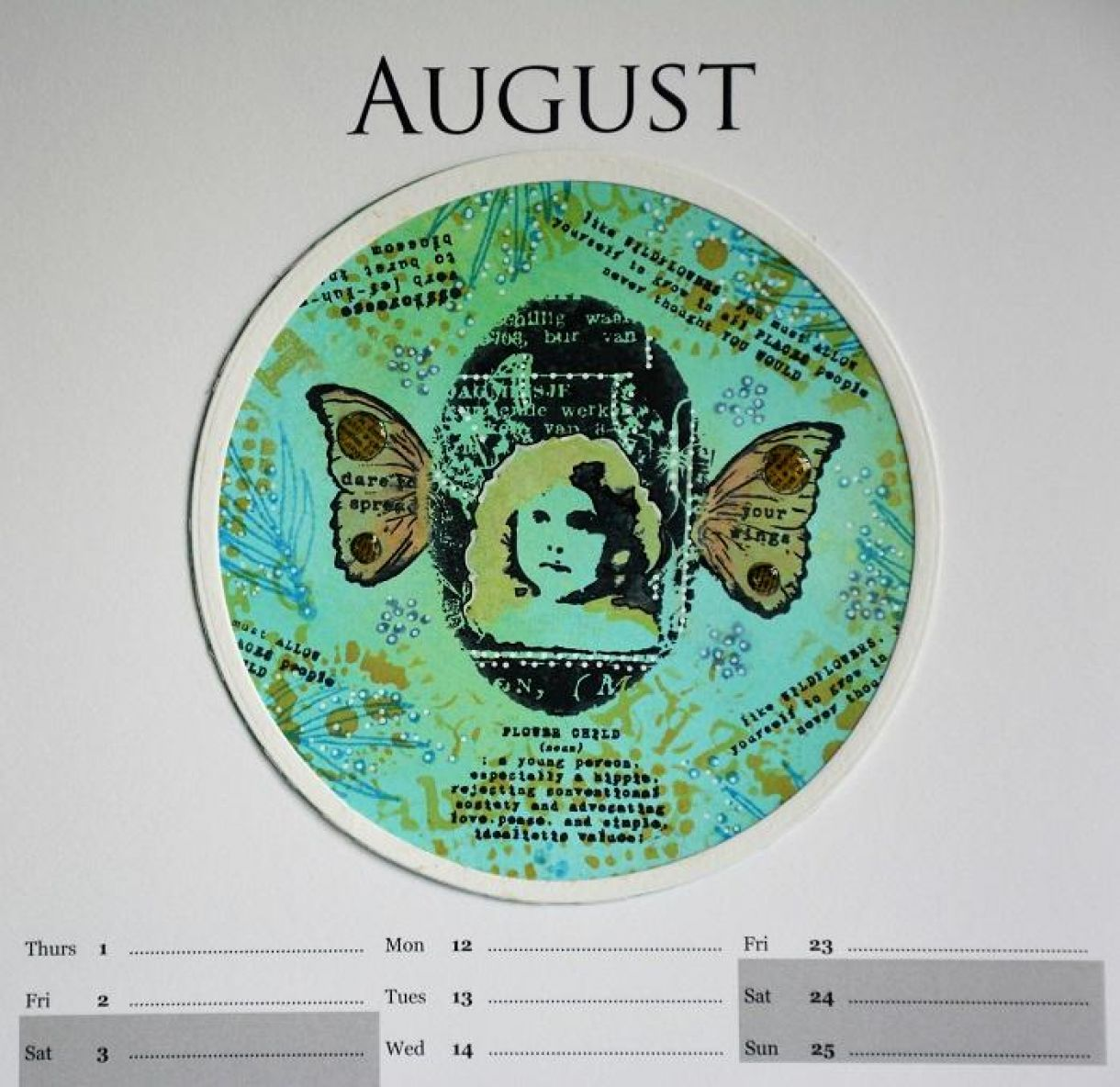 August Calendar Page Sylv 8