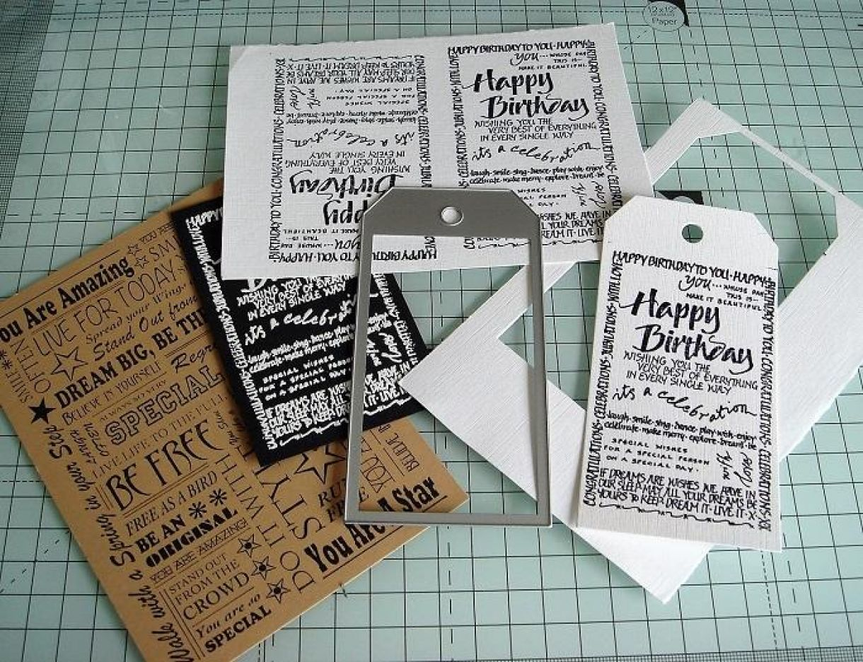 Block Word Stamp Birthday Greetings Cards 8