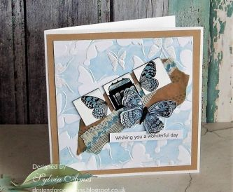 Embossing Folder Letterpress Technique - Blue Butterfly Birthday Card
