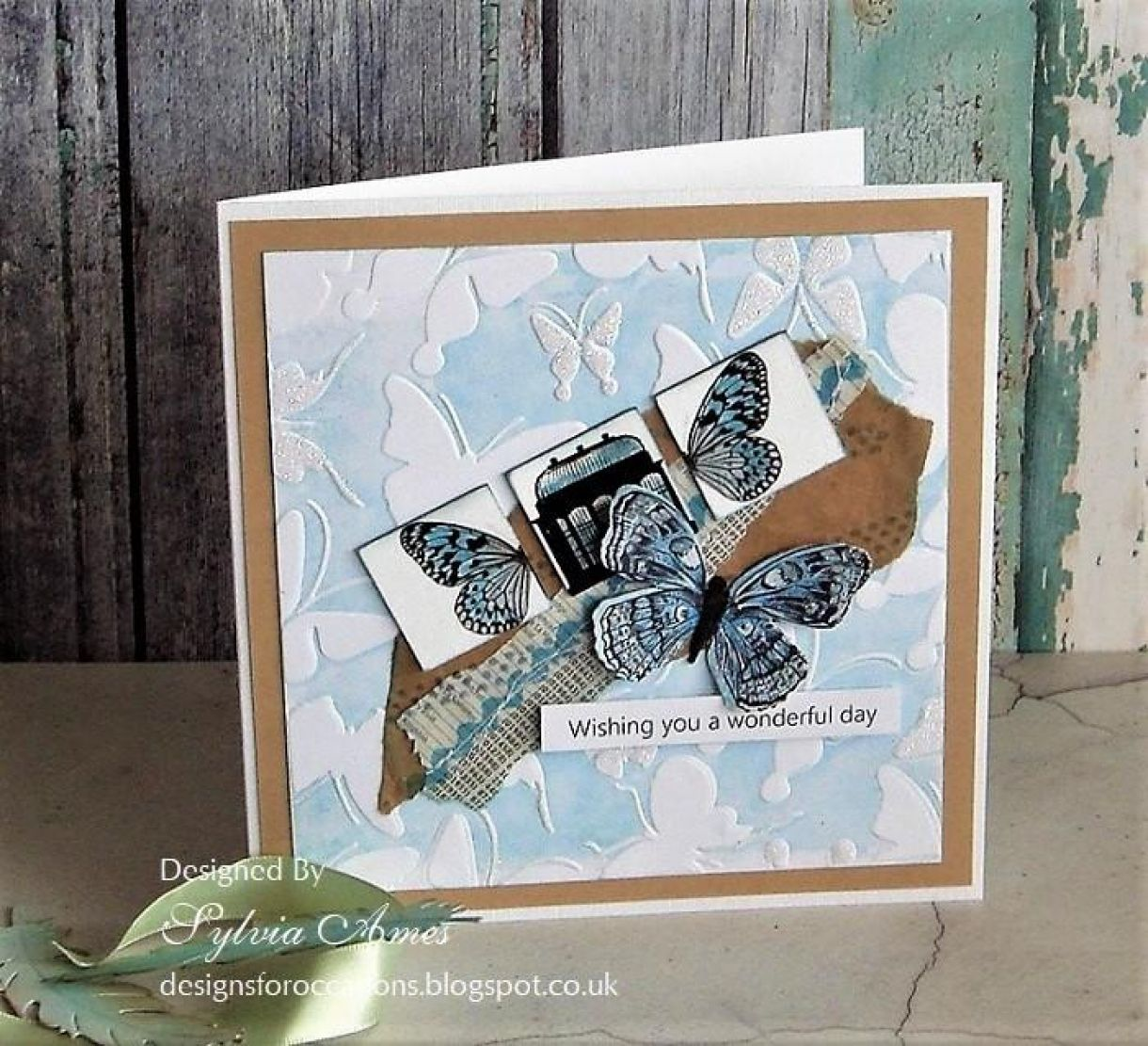 Blue Butterfly Embossing 1