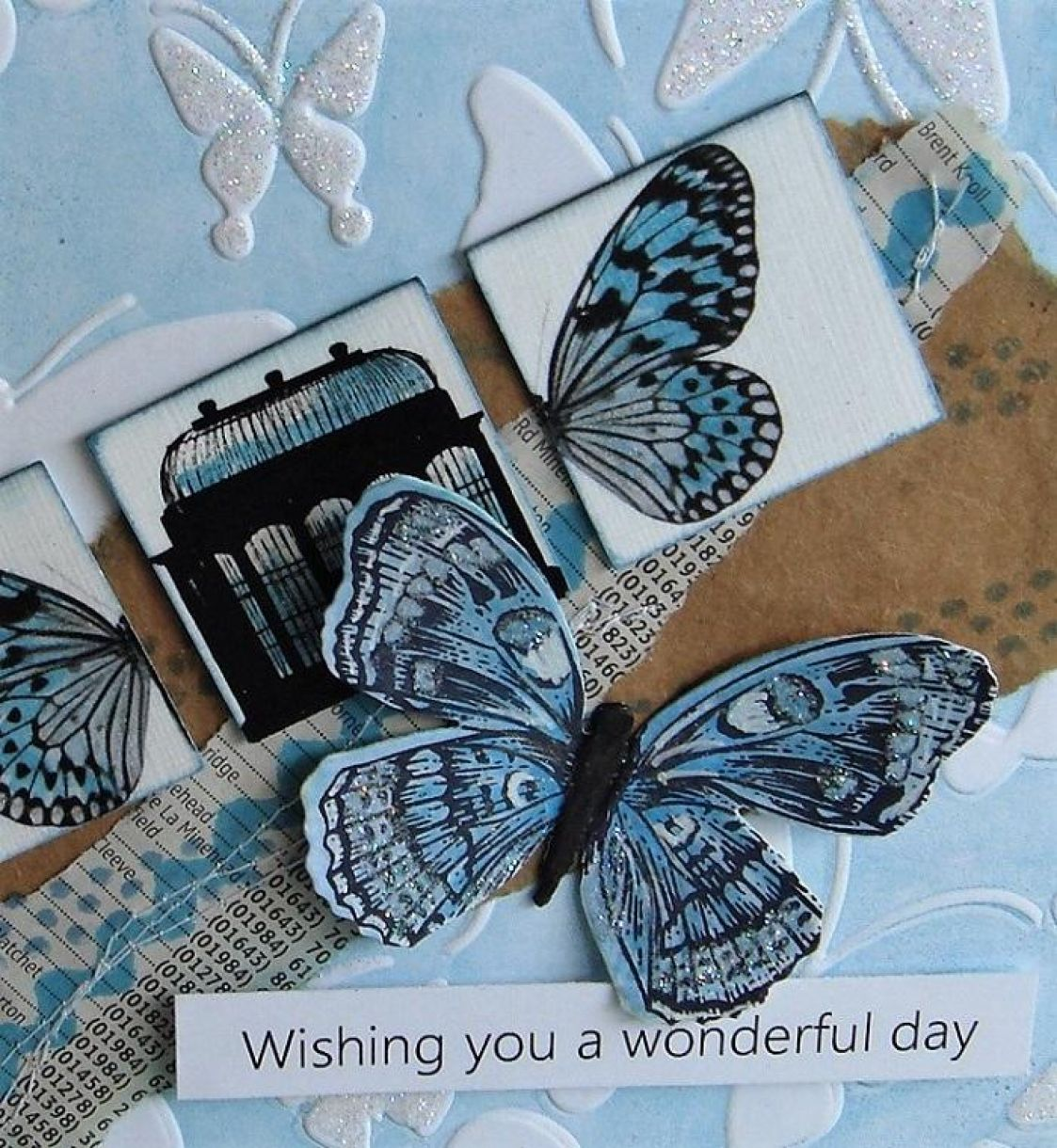 Blue Butterfly Embossing 2
