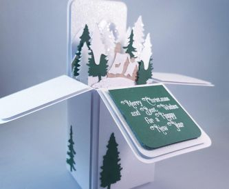 Merry Christmas Swiss-Themed Snow Scene Pop Up Box Card