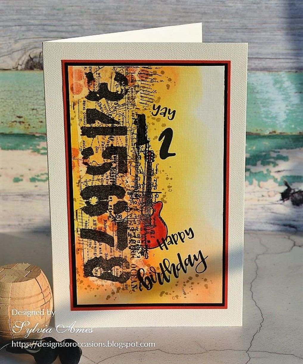 Collage Birthday Card With Guitar 2