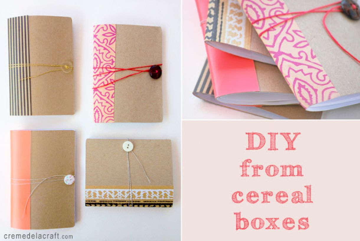 Diy  Craft  Project  Idea  Tutorial  How  To  Make  Mini  Pocket  Notebook  Journal  Cereal  Box  Upcycle2