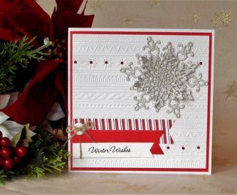 Silver Sparkle Snowflake Christmas Card