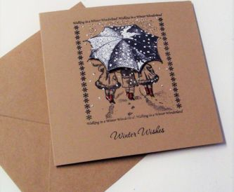 Buff, White And Red Christmas Card suitable For Batch Making