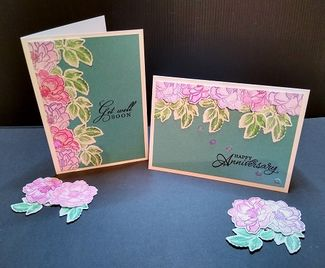 Die Cut Flower Cards using Pink & Turquoise