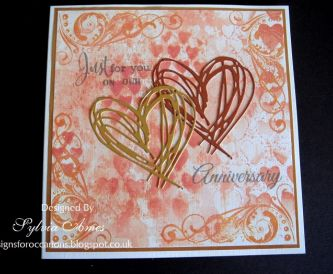 Card Making Idea - Double heart Anniversary card using distress oxide inks