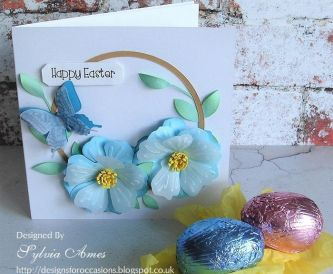 Flower And Butterfly Easter Card