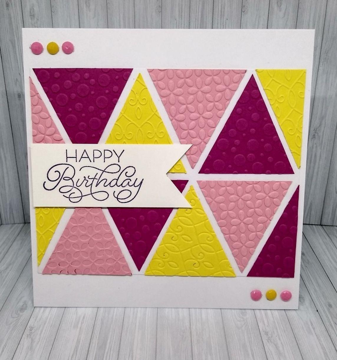 Embossed Geometric Birthday Card 1