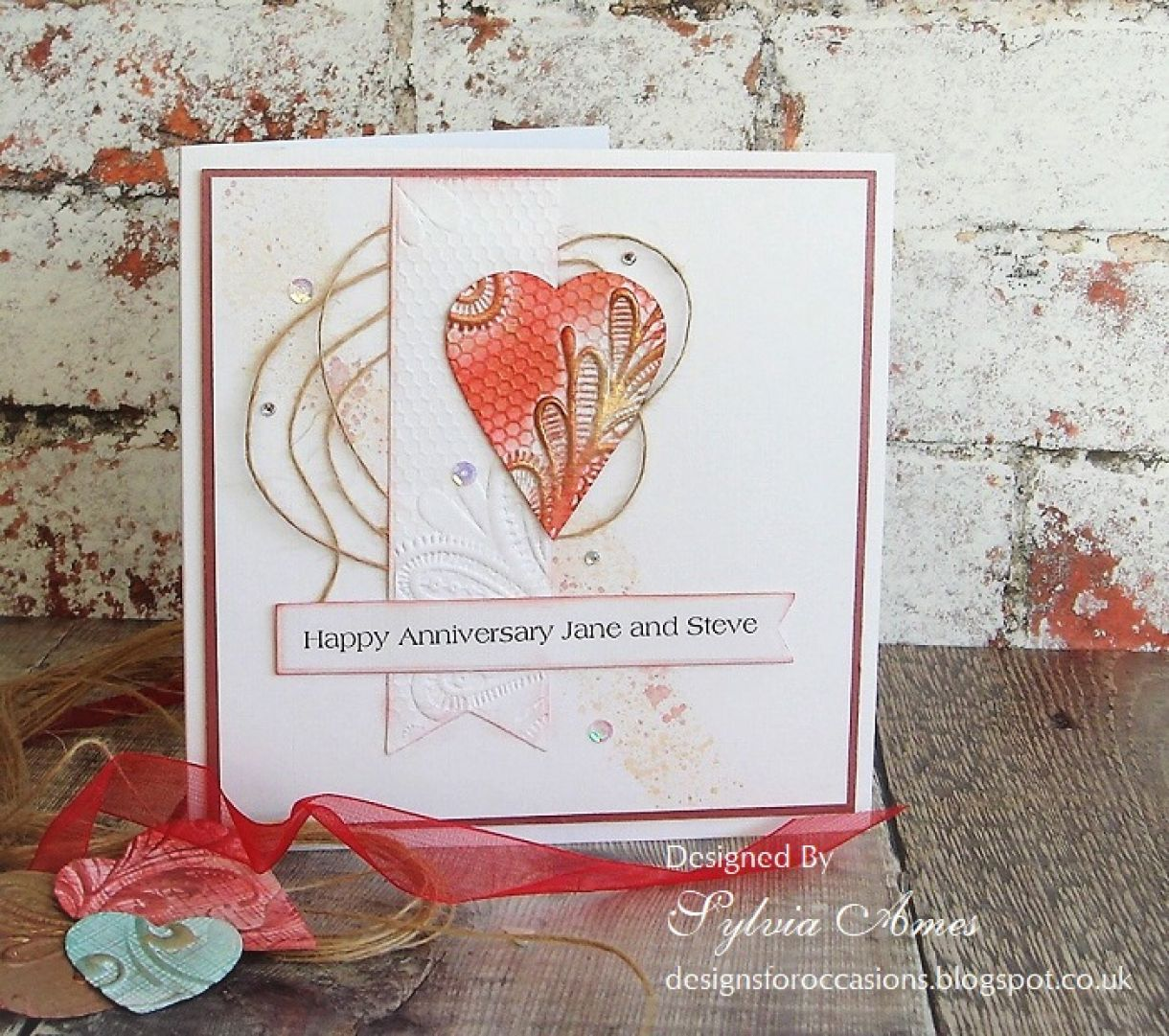 Embossed Heart Anniversary Card 1