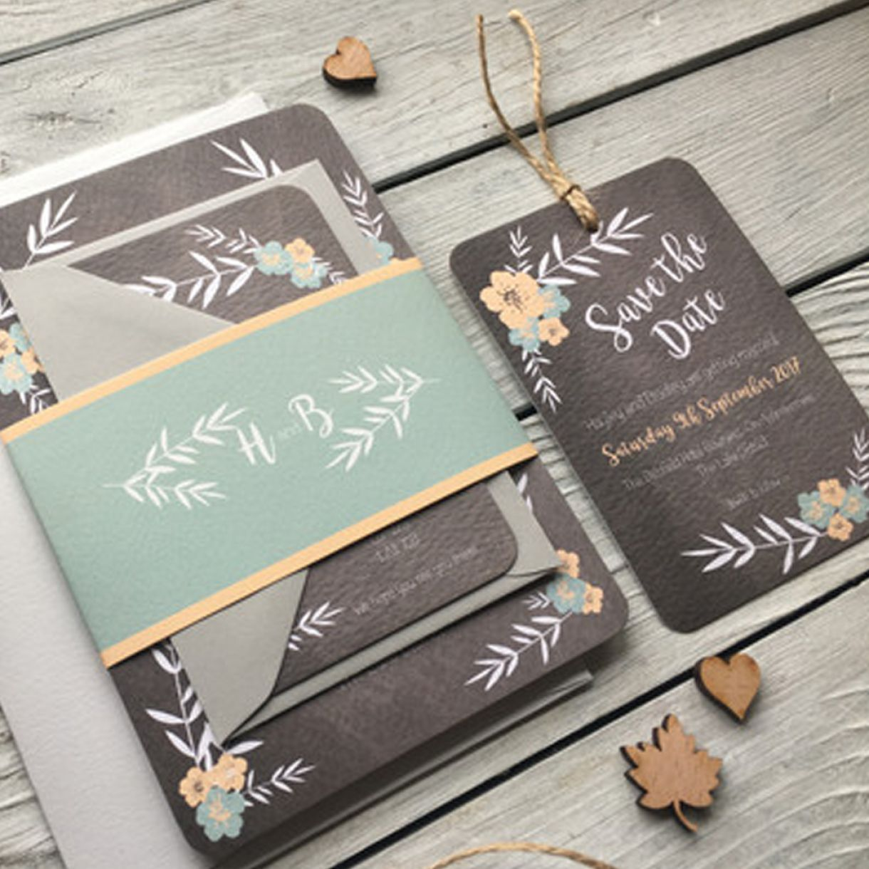 Floral Chalkboard Wedding Invitation Set