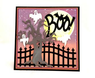 Inked Background Halloween Card